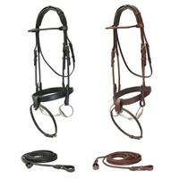 J&L Round Snaffle Bridle w Reins Brown